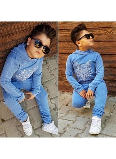 Quzucuk Kids Erkek Çocuk Kurt Figürlü Mavi Eşofman Takımı Mavi
